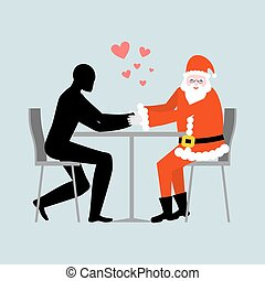 Christmas Lover. Lovers in cafe. Man and Santa Claus sitting...