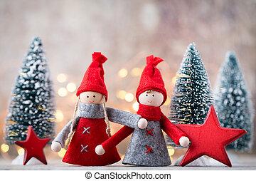 gnomo, festivo, Símbolo, Saudação, fundo, ano, Novo, Natal,...