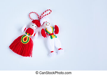 Bulgarian Martenitsa spring sign on white background with...