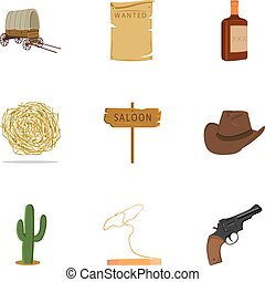 Wild west set icons in cartoon style. Big collection of wild...