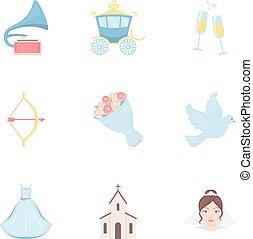 sarchiatura,  set, Icone, grande, Simbolo, collezione, stile, vettore, illustrazione, matrimonio, cartone animato, casato