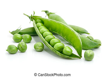 fresh green pea in the pod isolated on white background