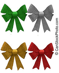 Four various coloured christmas Bows - Sparkly christmas...