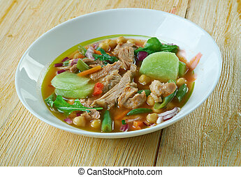 Caldo Tlalpeno traditional dish from Mexico which meat, and...