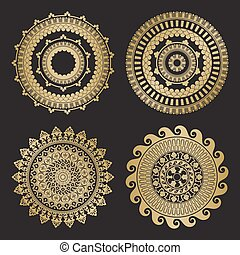 Gold color round abstract ethnic ornament mandalas. Based on...