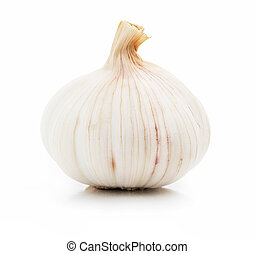 ripe garlic fruit isolated on white