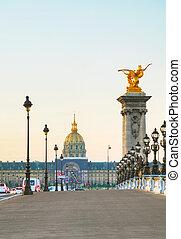 Les Invalides building in Paris ar sunrise