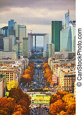 Business district aerial view in Paris, France