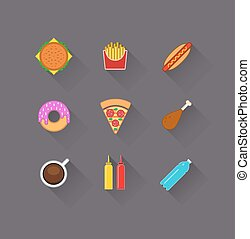 Fast food icons in flat design set with shadow