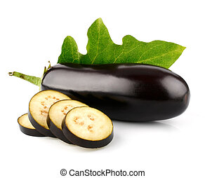 eggplant vegetable fruits with cut isolated on white...