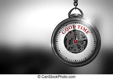 Good Time on Vintage Pocket Clock Face. 3D Illustration. -...