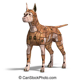 rusty scifi dog of the future3D rendering with clipping path...