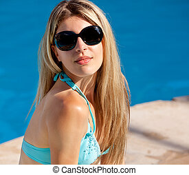 Pool Model with Sunglasses