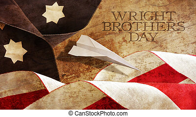 Happy Wright Brothers Day. America Flag Waves and Wood....