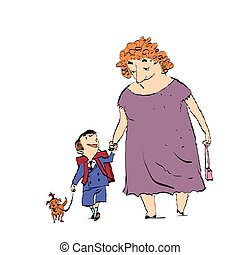 Grandma, grandson and dog on a walk. Color sketch drawing....