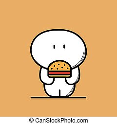 Cute fat man with burger - Cute funny fat and plump man with...