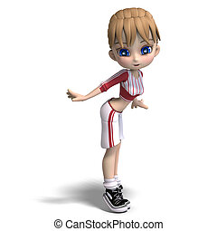 sweet little toon girl in short trousers. 3D rendering with clipping path and shadow over white