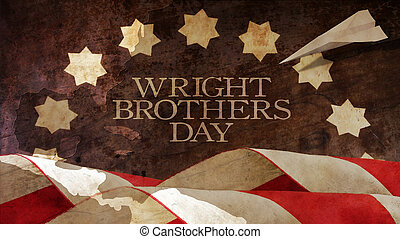 Happy Wright Brothers Day. Usa Flag Waves and Chart. Paper...