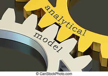 analytical model concept on the gearwheels, 3D rendering