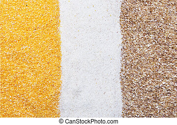 corn, semolina and wheat groats background, texture