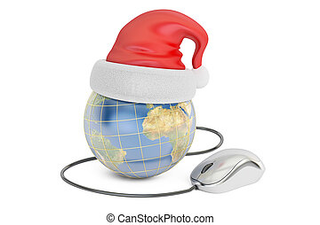Global Christmas online shopping concept, Earth with santa hat and computer mouse. 3D rendering