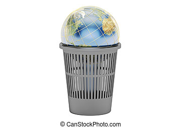 Trash bin with Earth globe, 3D rendering isolated on white...