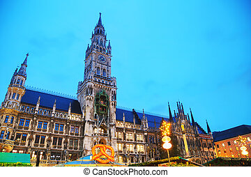 Overview of Marienplatz in Munich, Germany at sunrise