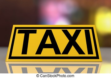 Taxi sign front view - Front view of a taxi sign on the roof...