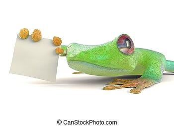 Green tree red eye frog with a blank sign 3d illustration -...
