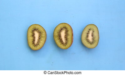 Kiwi fruit, art style - Kiwi fruit on blue background, art...