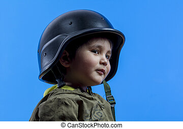 success, fun and funny child dressed in militar hat and...