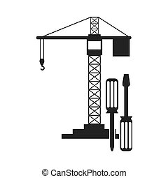Isolated crane of construction design