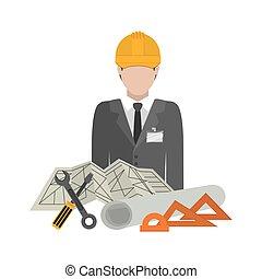 Isolated architect design - Architect icon. Construction...