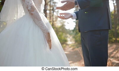 Groom kiss hands of his bride. Posing outdoor. Closeup. Slow...