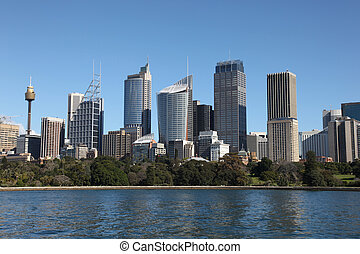 Sydney City Skyline view across farm cove Sydney is...