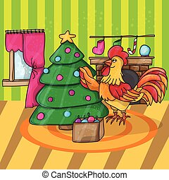Cartoon cock with tree. Rooster. Vector illustration. -...