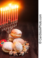 Hanukkah background - Symbols of jewish holiday hanukkah -...