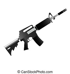 Isolated weapon - Isolated machine gun on a white...