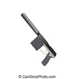 Isolated weapon - Isolated gun on a white background, Vector...
