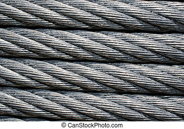 Up Close image of industrial strength cable line wire. -...