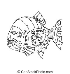 Steampunk style piranha fish coloring book vector -...