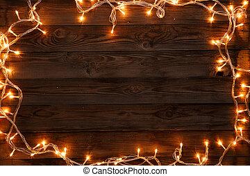 Christmas garland on dark background