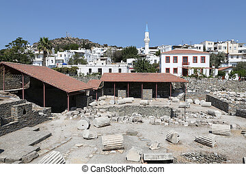 Mausoleum at Halicarnassus in Bodrum, Turkey - Mausoleum at...