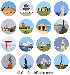 World landmarks flat icon set. travel app web site monument...