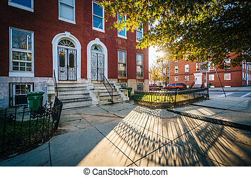 Rowhouses on Franklin Square, in Baltimore, Maryland.