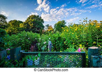 Gardens at Back Bay Fens, in Boston, Massachusetts.