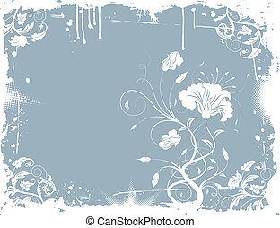 Grunge floral chaos - Grunge paint floral chaos, element for...