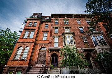 Historic buildings on Bunker Hill, in Charlestown, Boston,...