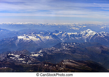 Swiss and French Alps. View from the bird's-eye view of...