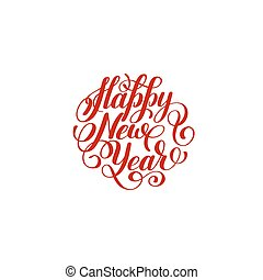 Happy New Year circle hand lettering logo congratulate...